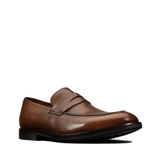 CLARKS chaussures RONNIE STEP BRITISH TAN cuir